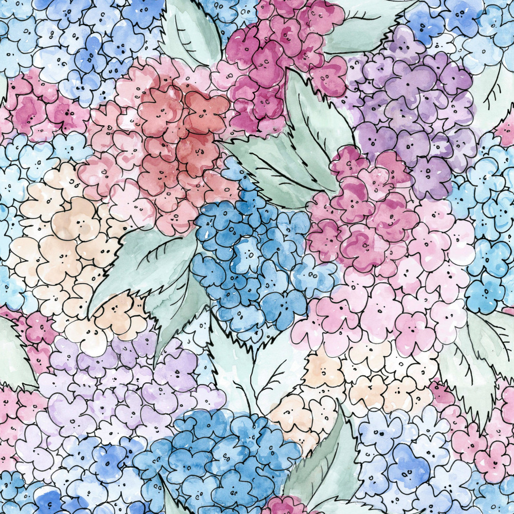 Hydrangeas.  2016. Watercolor, gouache, and ink on paper. (perfect repeat)