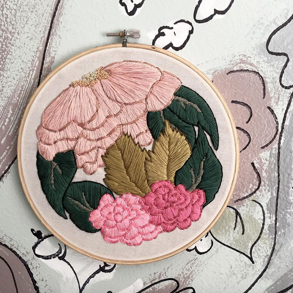 I am so excited about contemporary embroidery right now! I create the illustrations and hand stitch every bit of each hoop. I am really proud of these!