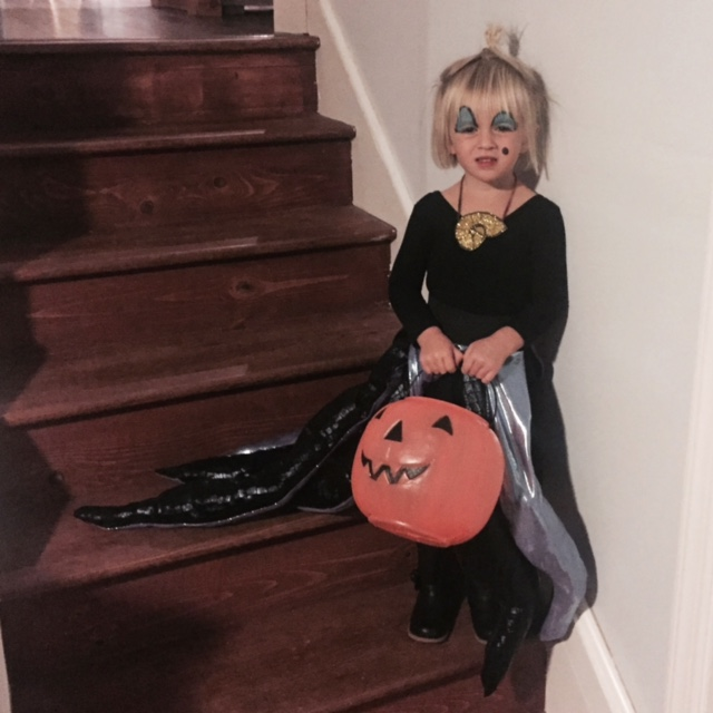 "Chi Chi's Halloween Costume: Ursula the Sea Witch. We took her to a local production of The Little Mermaid and Ursula was her favorite! We told her that Ursula has trouble being nice because she has ""pain in her heart"". Tentacle tutu, make-up, and shell necklace were my creations."