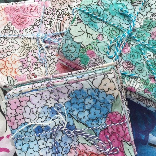 Some printed fabric from floral repeat patterns. For sale on Spoonflower.com