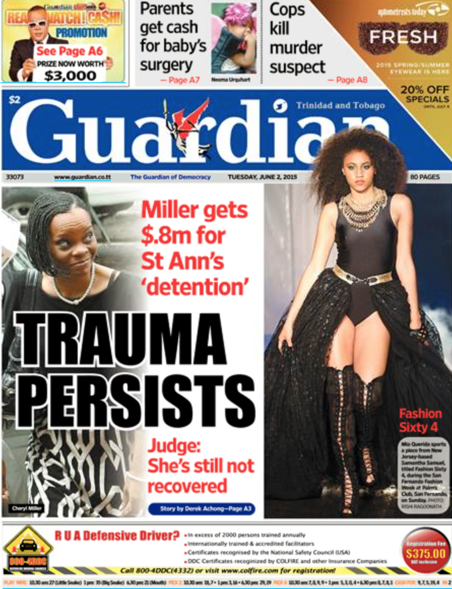 Trinidad Guardian (Front Page)