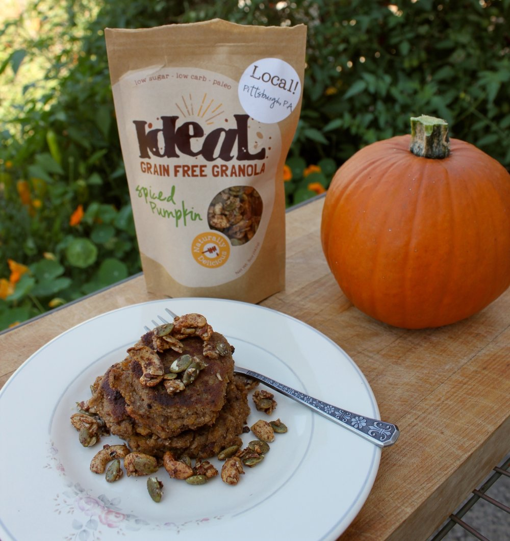 Coconut Flour Pumpkin Pancakes with Ideal Grain Free Granola
