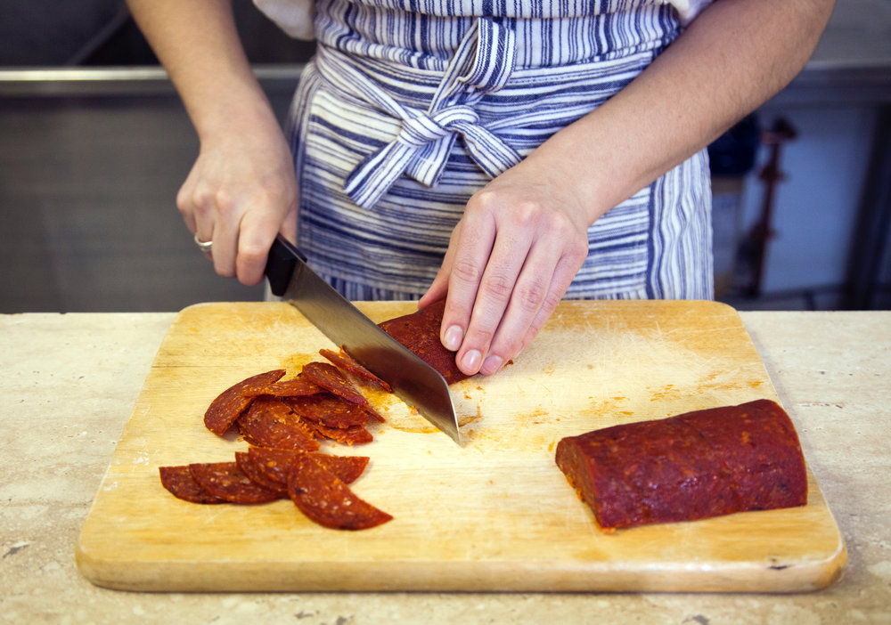 Rolling Pepperoni has its own custom pepperoni recipe, made by Parma Sausage in the Strip.
