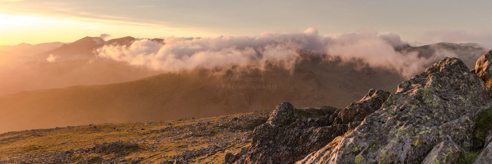 Sunset panorama from the top of Dow Crag
