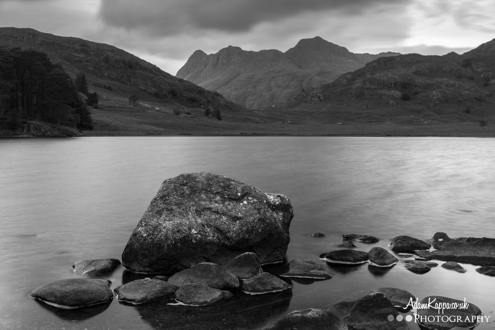 Blea tarn, the lake district black and white