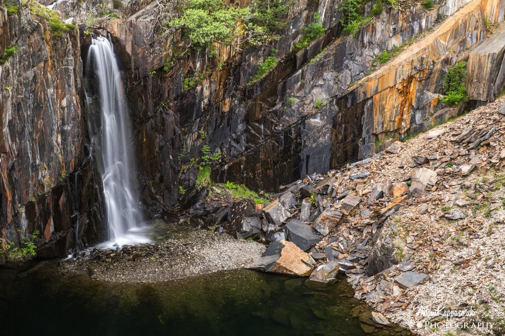 Waterfall in the quarry -