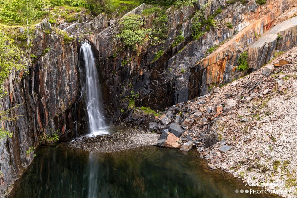 Waterfall reflections in the quarry -