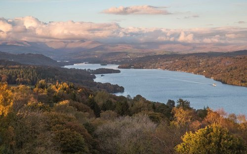 Autumn Trees Surrounding Windermere. The Lake District