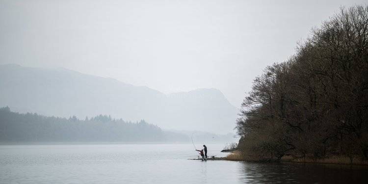 Fishing In The Fog. Coniston Water