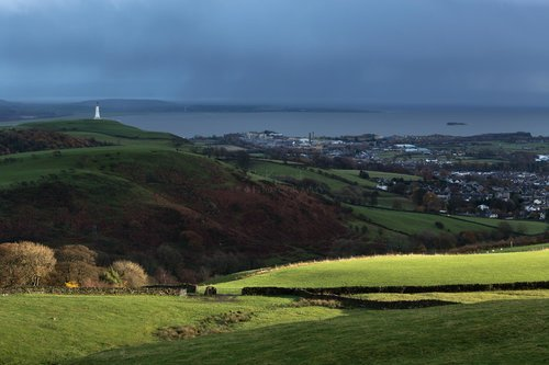 The Sun Breaking Through Between The Rain. Hoad And Ulverston Town