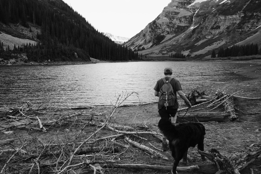 Ethan absolutely insisted that we keep following a trail he had found which led us through the Maroon Bells - Snowmass Wilderness and ultimately here - Crater Lake. The student has MAYBE become the teacher.