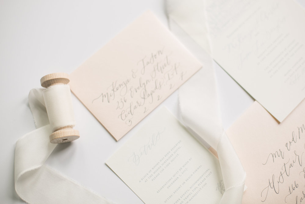 semi custom calligraphy invitations