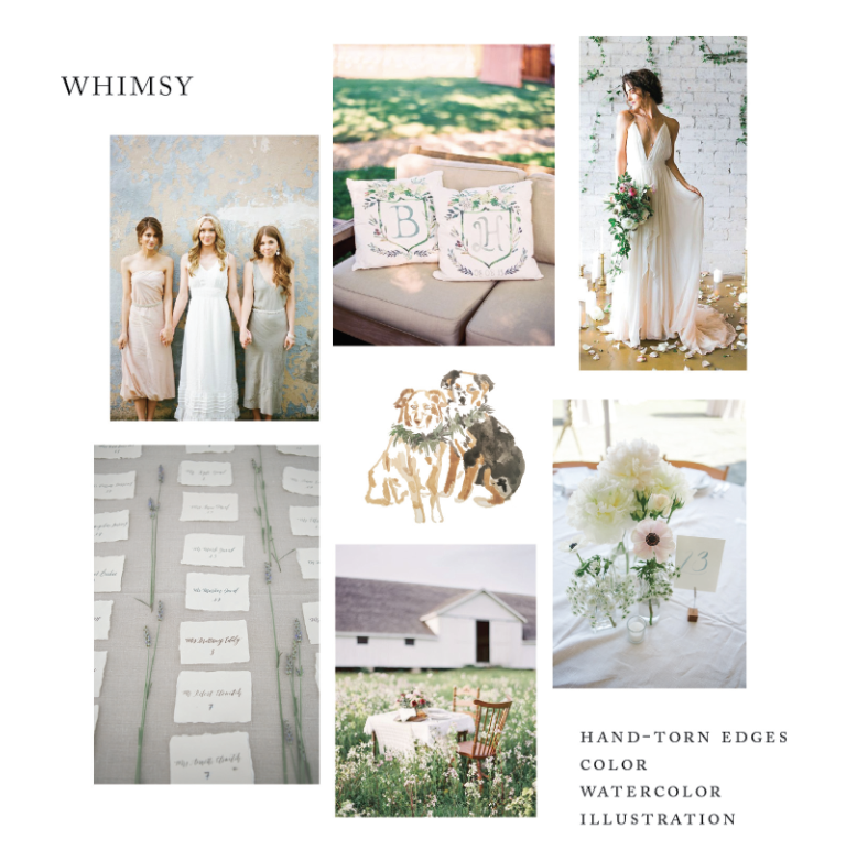 Counter clockwise: Austin Gros Photography; Hannah Suh Photography with Roseville Designs and Yong Suk Events; Ashley Rae Photography with Cleo and Clementine wedding dress; Amy Donohue Photography; Jen Huang Photo; Amy Donohue Photography; center: Kelsey Malie Calligraphy
