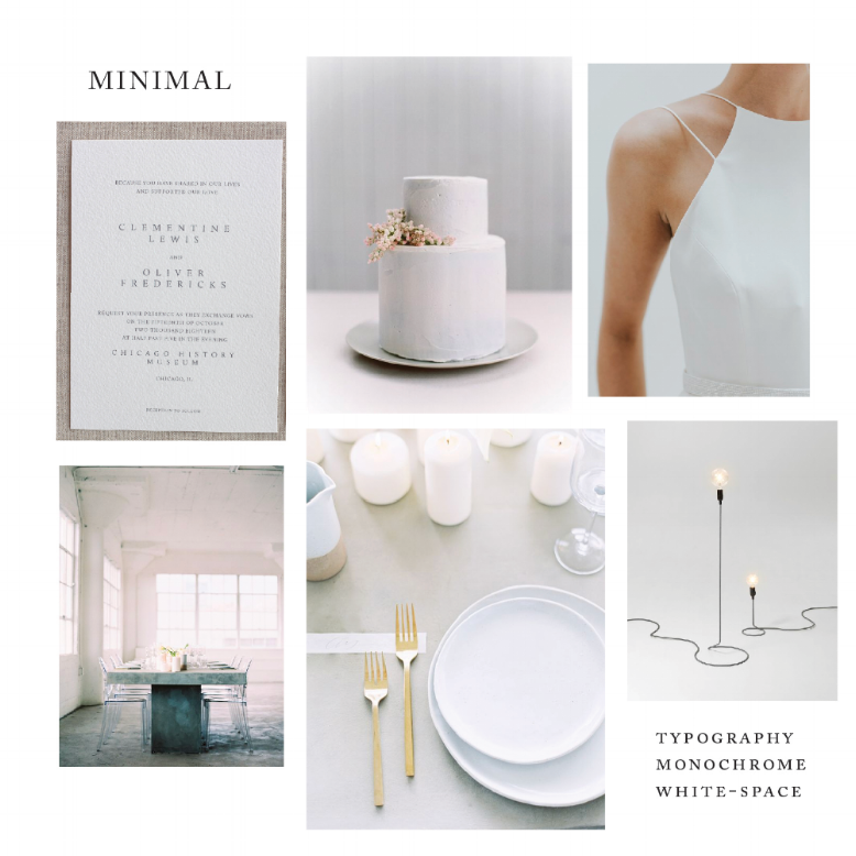 Images, clockwise: Kelsey Malie Calligraphy Ohia suite; OnceWed, photo by Maria Lamb, cake by Sainte G Cake Company; Charlotte Simpson Bridal; Sally Pinera Photo; Sally Pinera Photo; cord lamp by Form Us With Love for Design House Stockholm