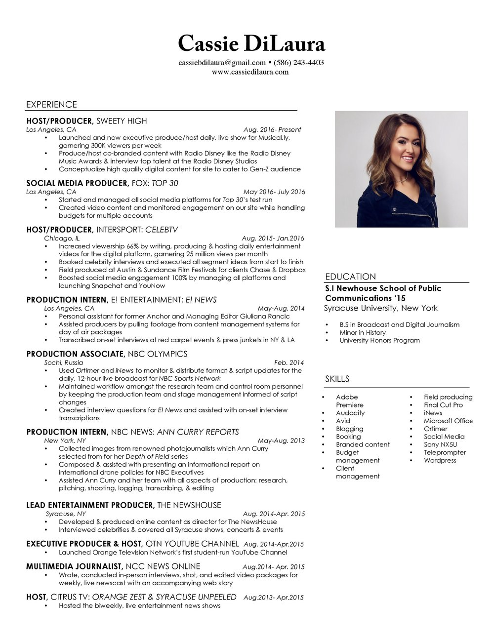 tv host producer - Tv Host Resume