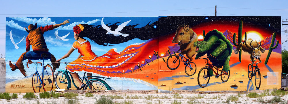 4000 square foot bicycle mural on the side of Epic Rides at Stone And 6th Street in Tucson AZ
