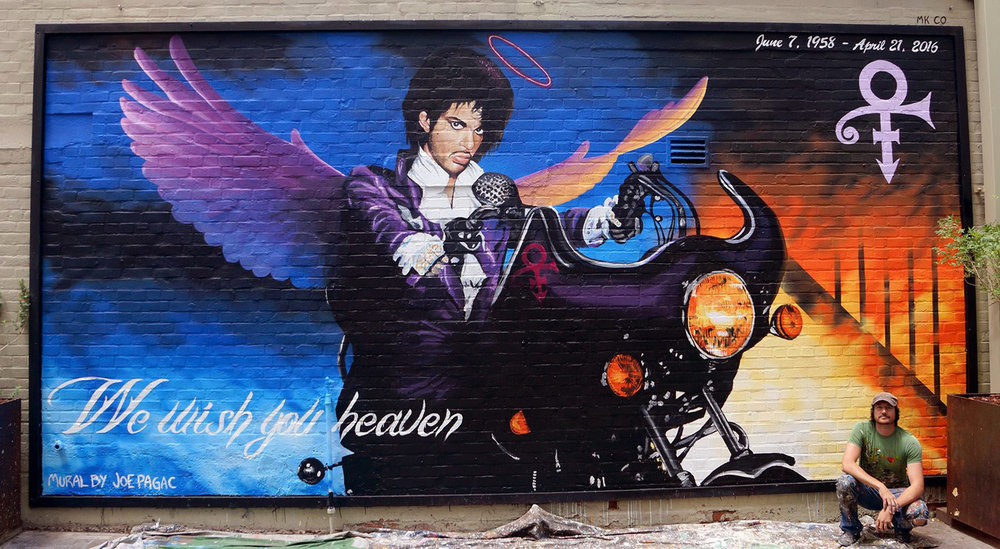 Prince memorial mural on the side of the Rialto Theatre in Downtown Tucson, Arizona