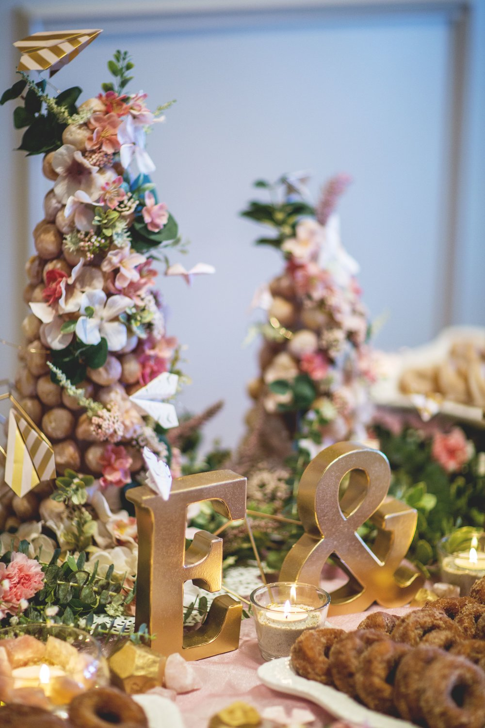 6. - If you do not wish to have a wedding cake at the reception, some other fun options are donut bars, macaroons, cake pops, cupcakes, or a small cake/ pie with a combination of any of the above! The options are limitless.