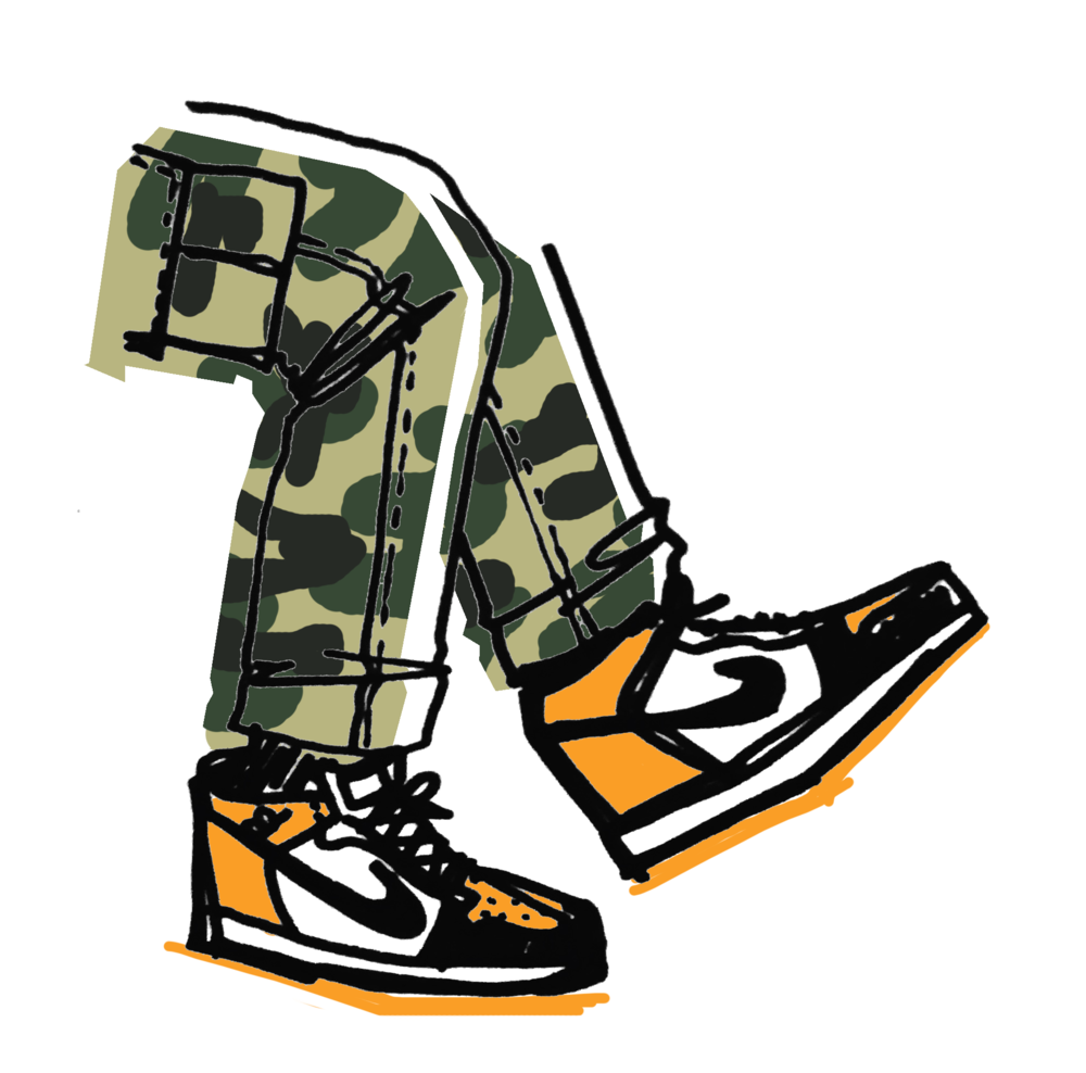 """Camo Pants Orange Nikes"" Print"