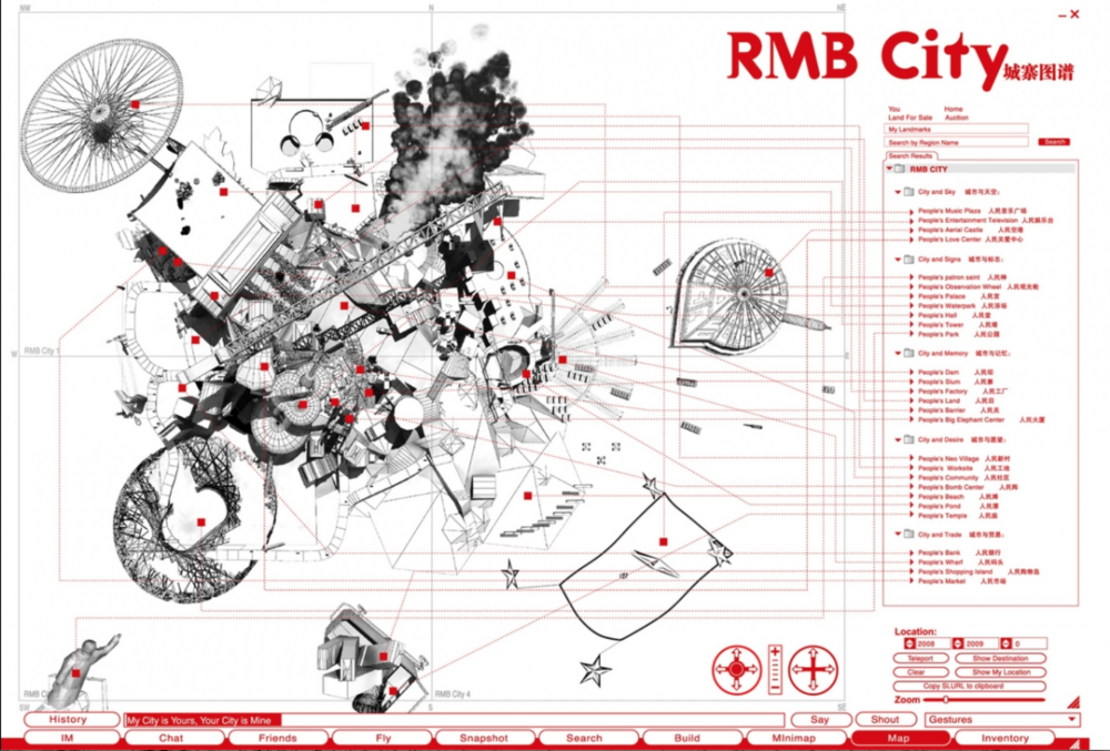 Spatial and digital organization of RMB City, image courtesy rmbcity.com