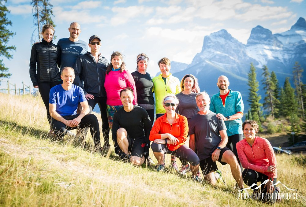 Group photo of Rocky Mountain Running Retreat by Peter Collins Photography.