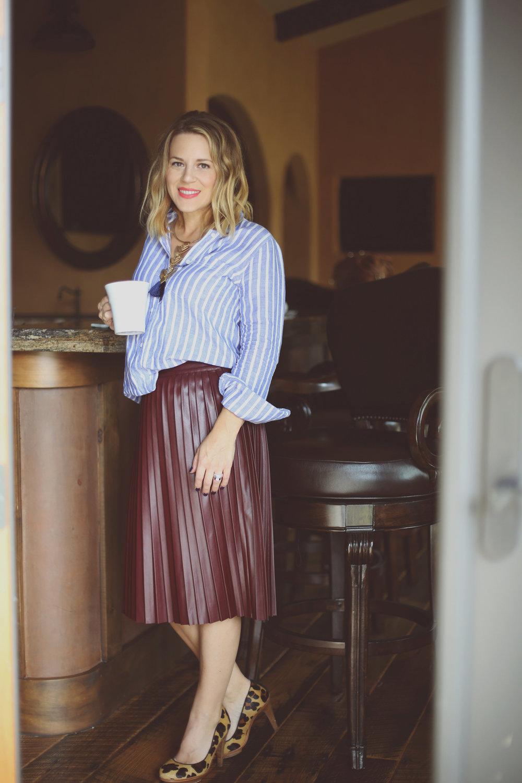 jcrew button down leather burgandy skirt 1.jpg