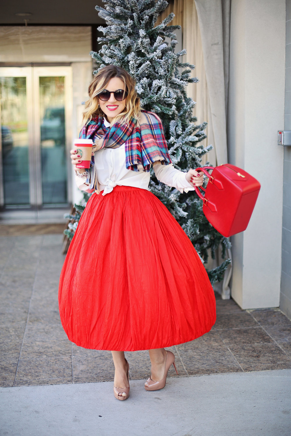 louis vuitton- adolfo skirt- starbucks - plaid scarf.jpg