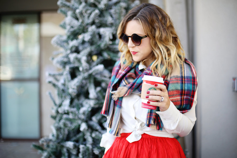 plaid scarf- starbucks- vintage adolfo skirt.jpg