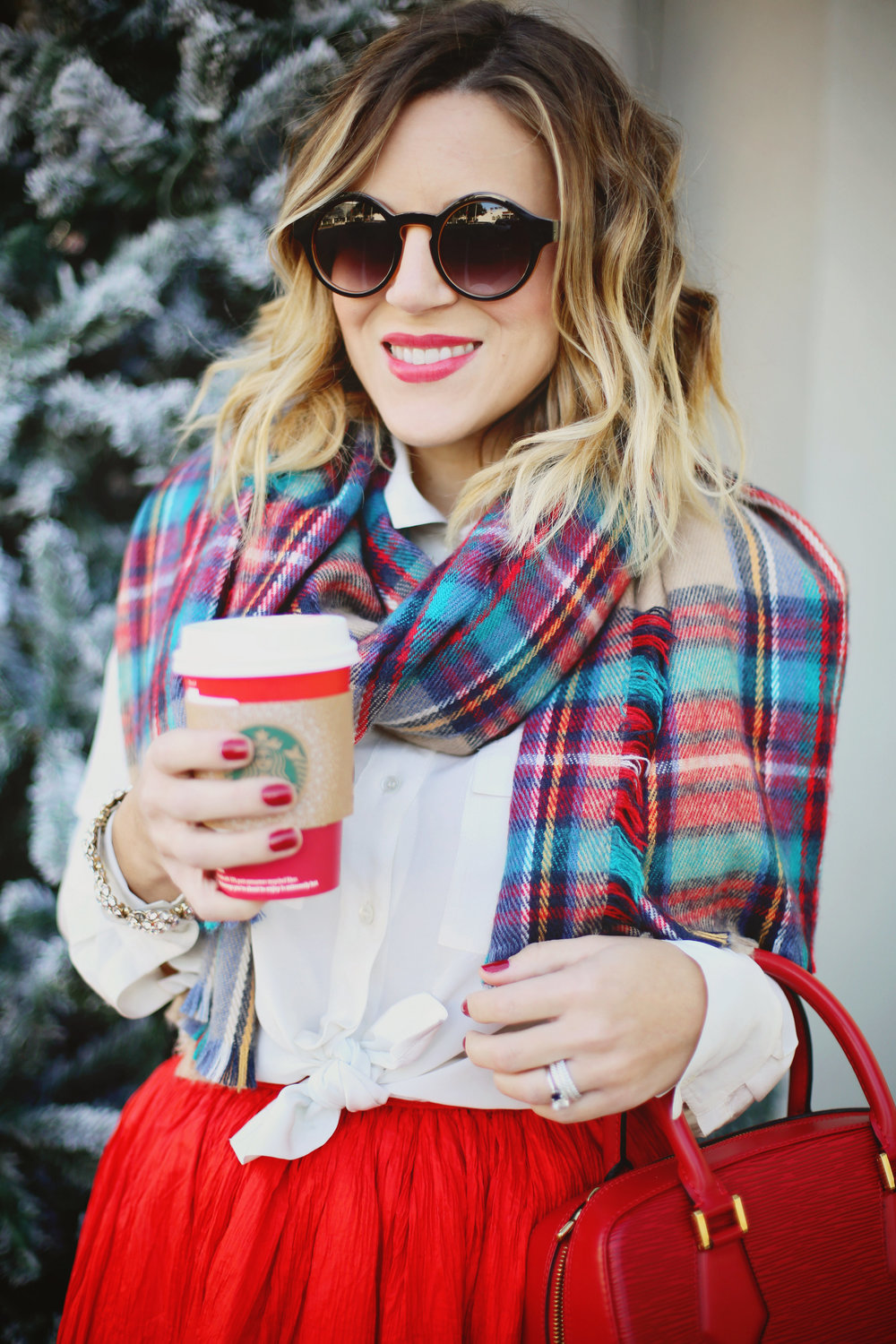 louis vuitton- vintage skirt- starbucks- plaid scarf.jpg