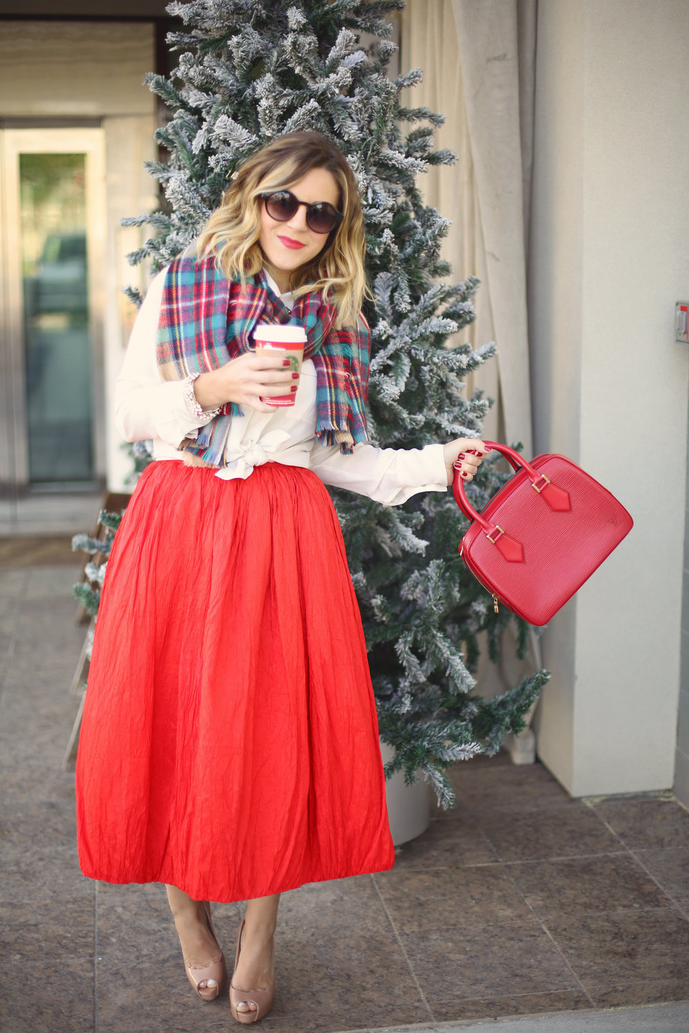 louis vuitton epi red bag- plaid scarf- adolfo vintage skirt - starbucks.jpg