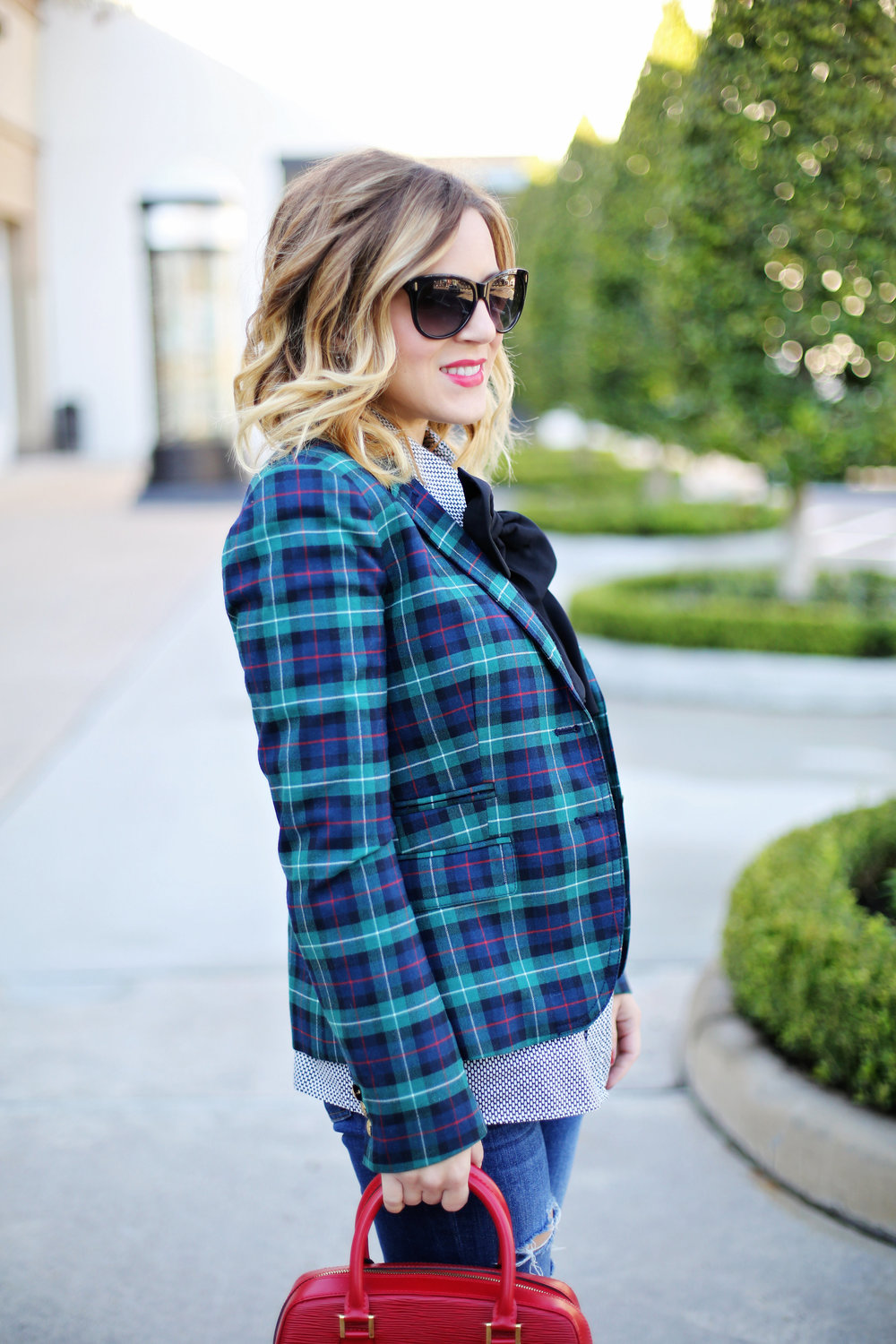 jcrew plaid blazer, shiny ponies heels, louis vuitton red epi handbag 5.jpg