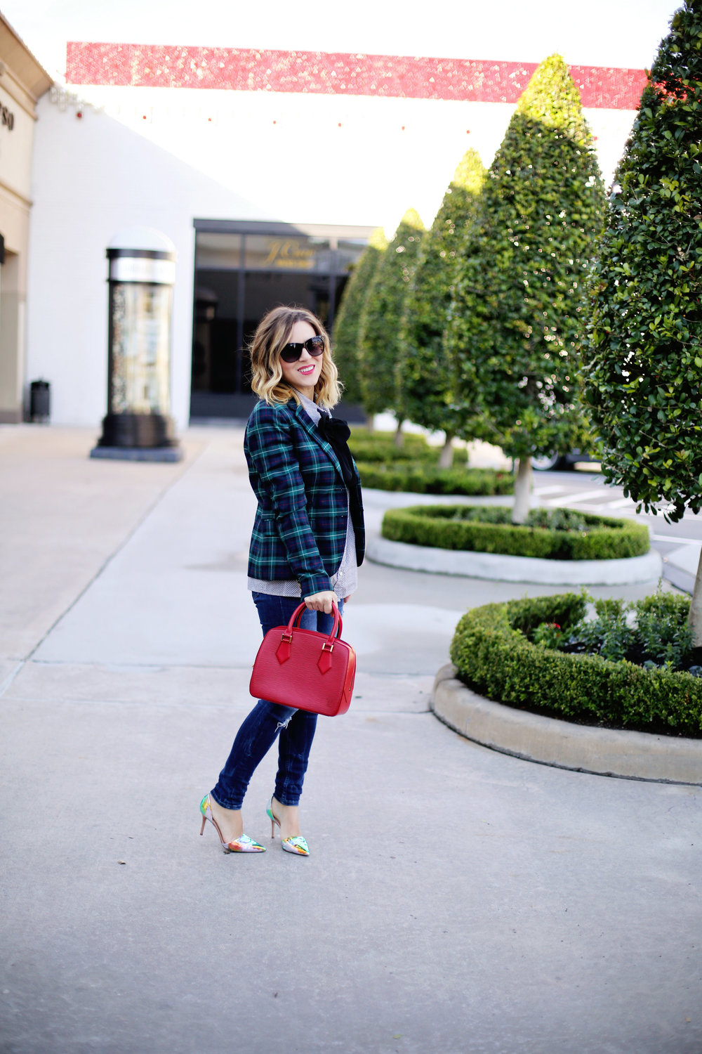 jcrew plaid blazer, shiny ponies heels, louis vuitton red epi handbag 7.jpg