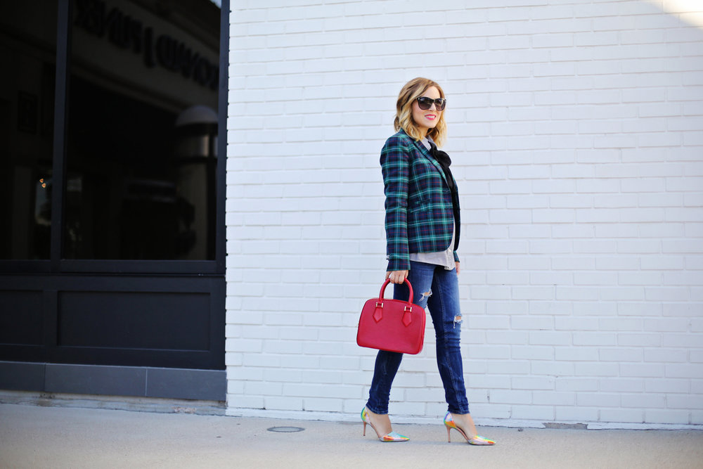 jcrew plaid blazer, shiny ponies heels, louis vuitton red epi handbag 2.jpg