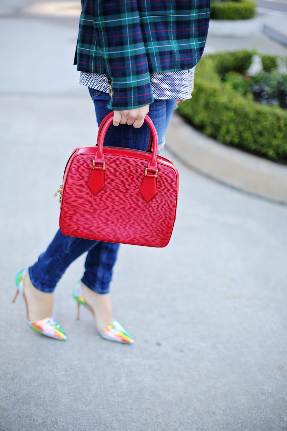 jcrew plaid blazer, shiny ponies heels, louis vuitton red epi handbag 6.jpg