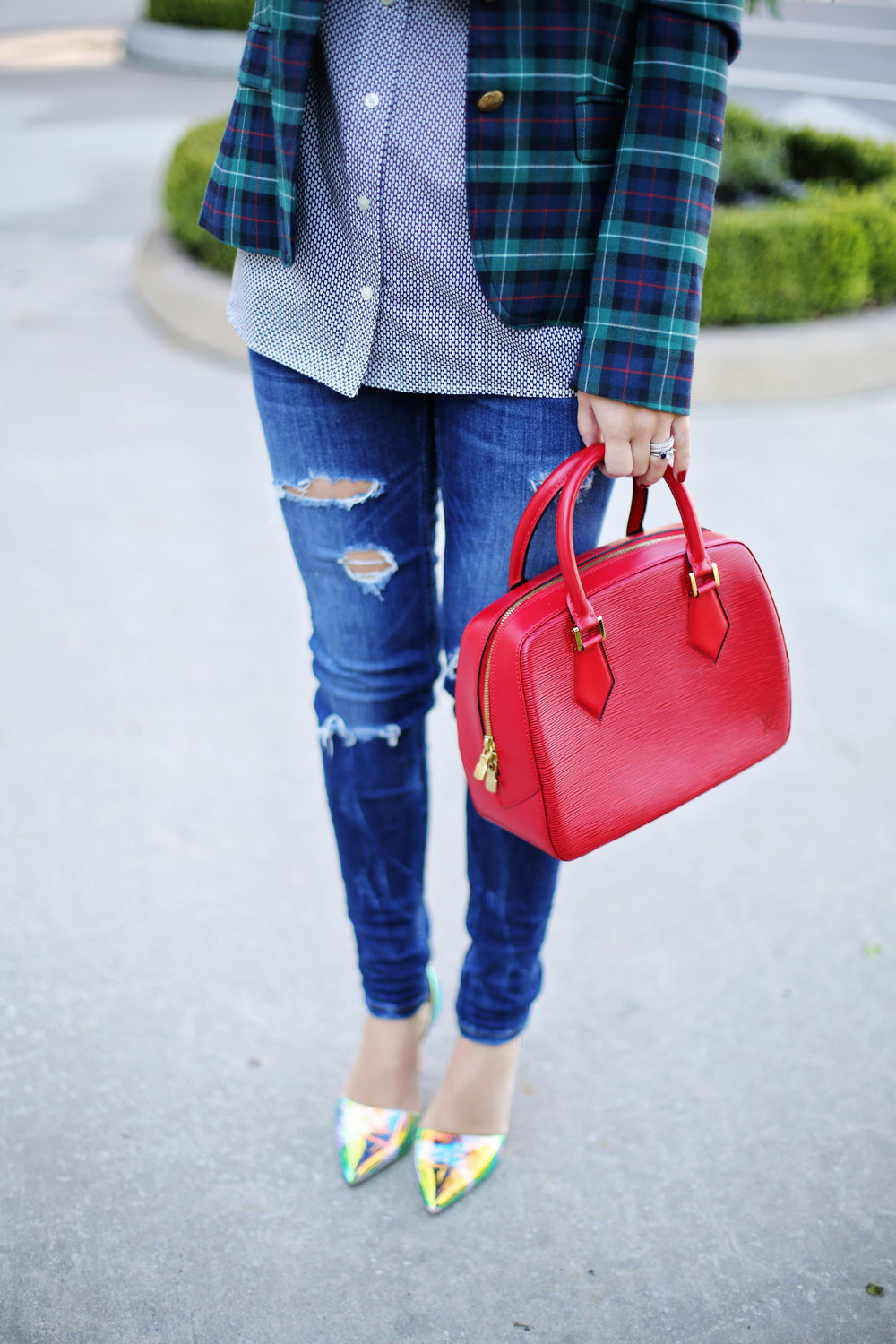 jcrew plaid blazer, shiny ponies heels, louis vuitton red epi handbag 4.jpg