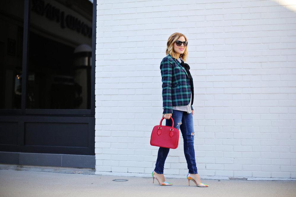 jcrew plaid blazer, shiny ponies heels, louis vuitton red epi handbag 2.jpg