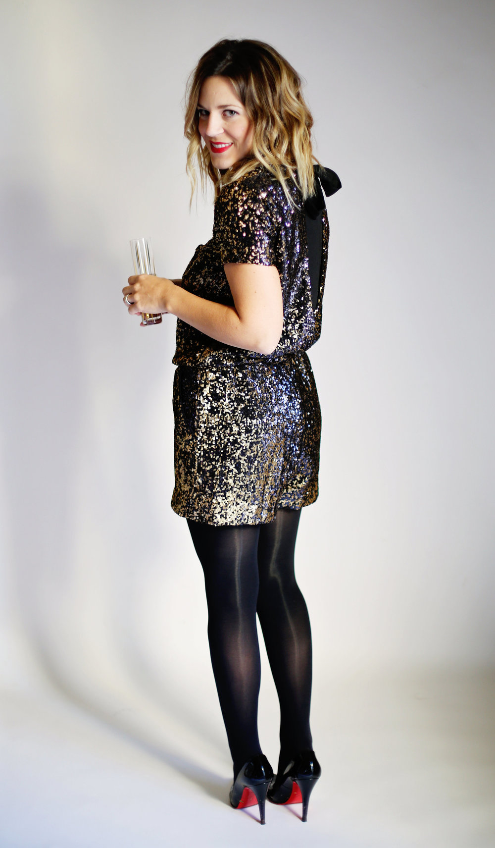 shoshanna sequin romper with christian louboutin heels and red lipstick .jpg