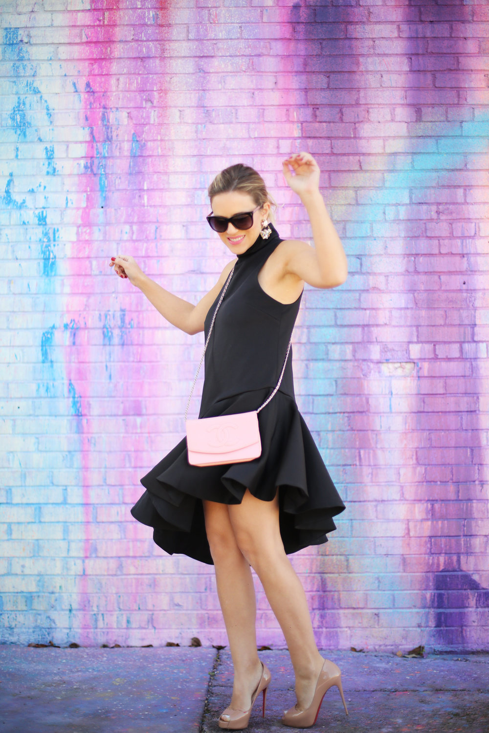 pink chanel cross body with little black dress and christian louboutin 1.jpg