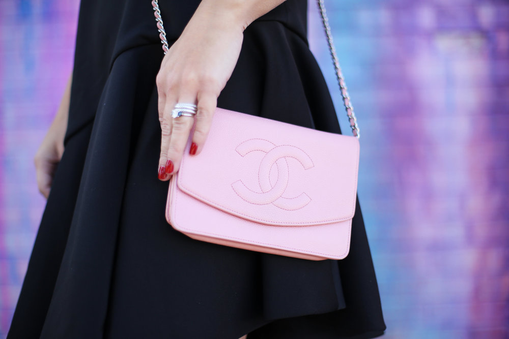 pink chanel cross body with little black dress and christian louboutin 4.jpg
