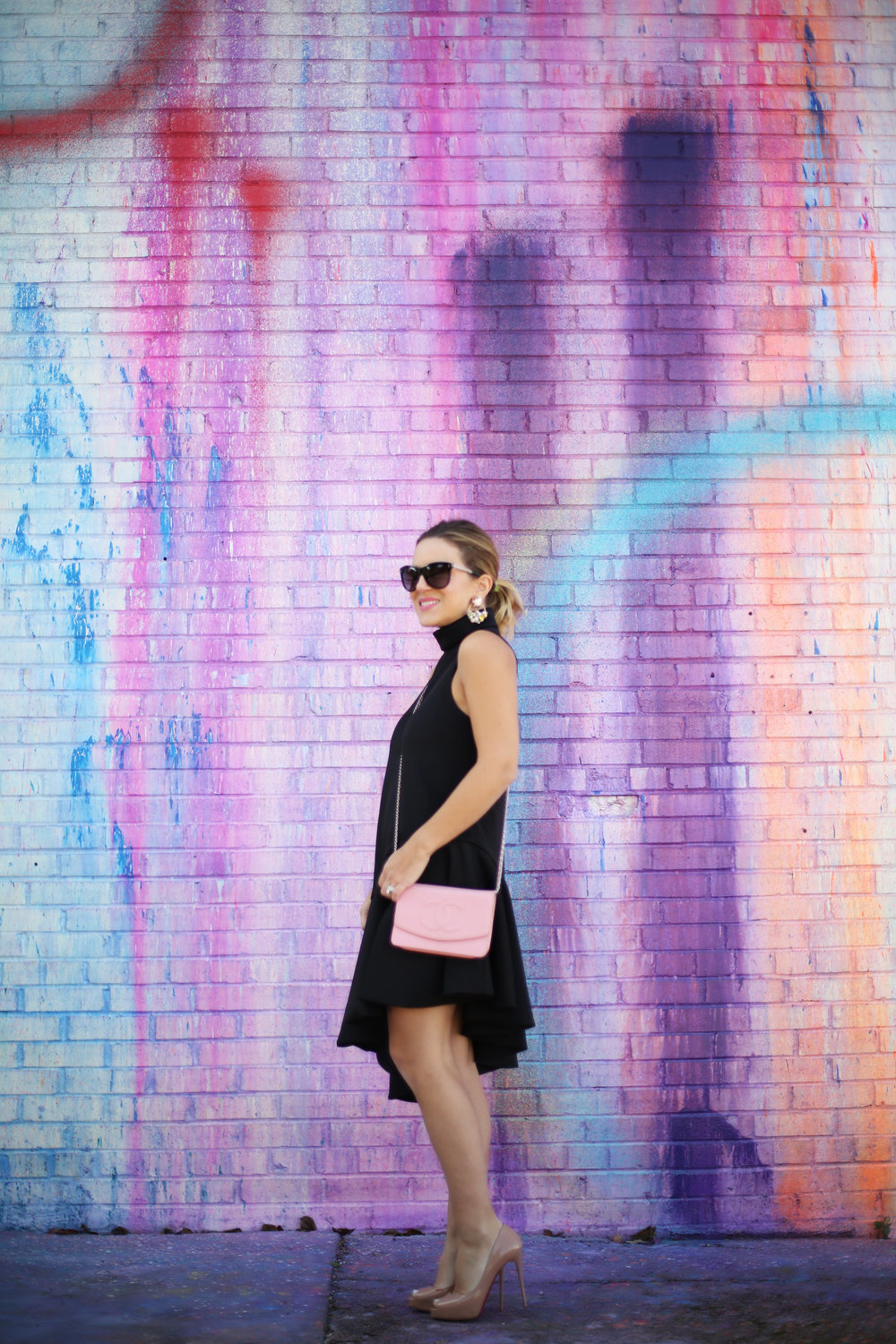 pink chanel cross body with little black dress and christian louboutin 5.jpg