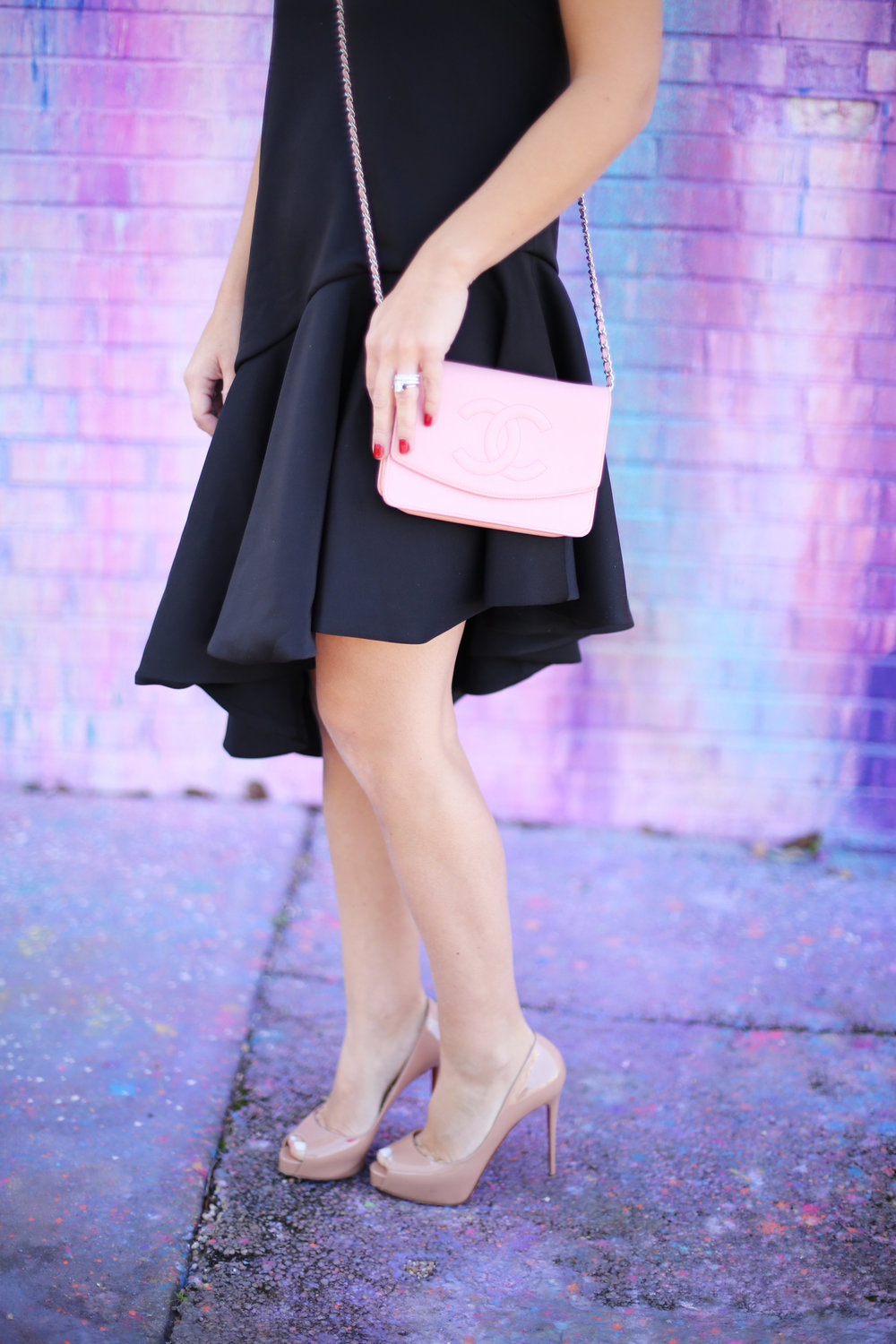 pink chanel cross body with little black dress and christian louboutin 3.jpg