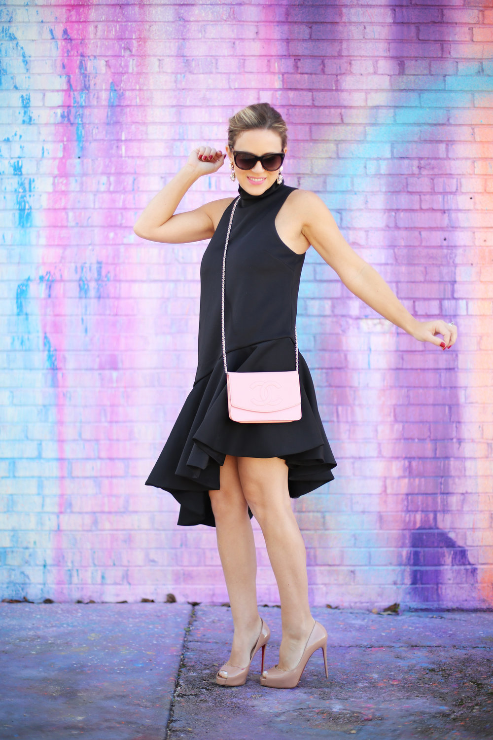 pink chanel cross body with little black dress and christian louboutin.jpg