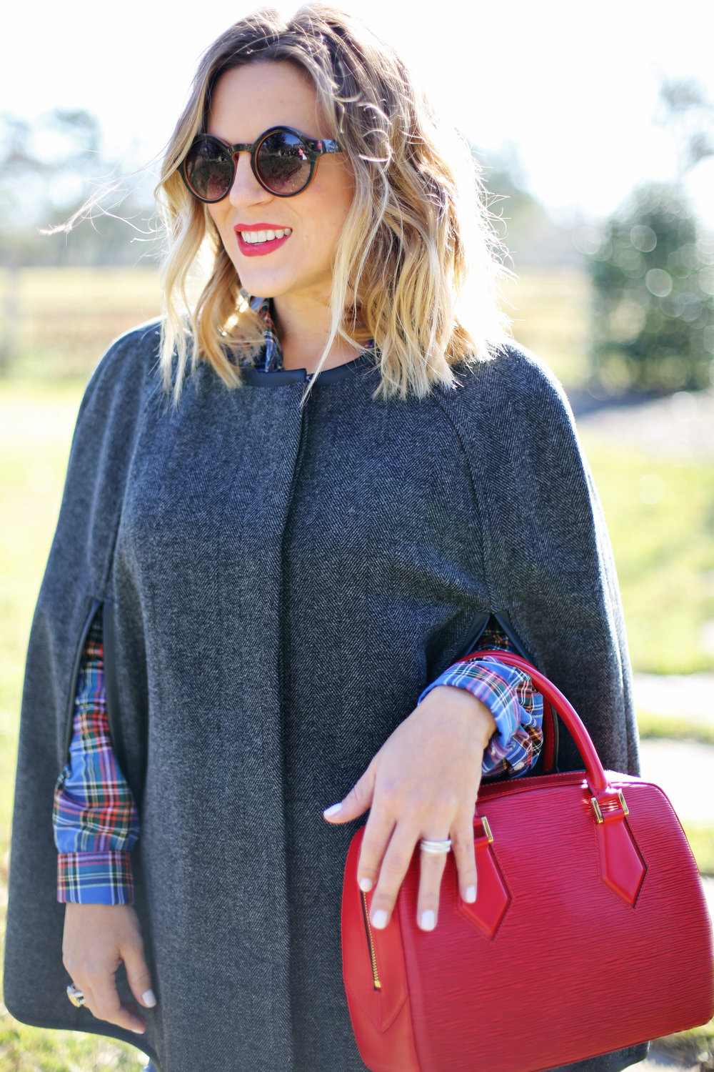 gray j.crew cape and plaid button down with red epi louis vuitton 1.jpg