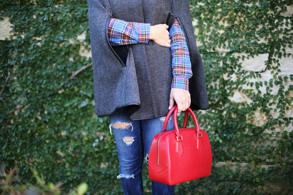 gray j.crew cape and plaid button down with red epi louis vuitton 2.jpg