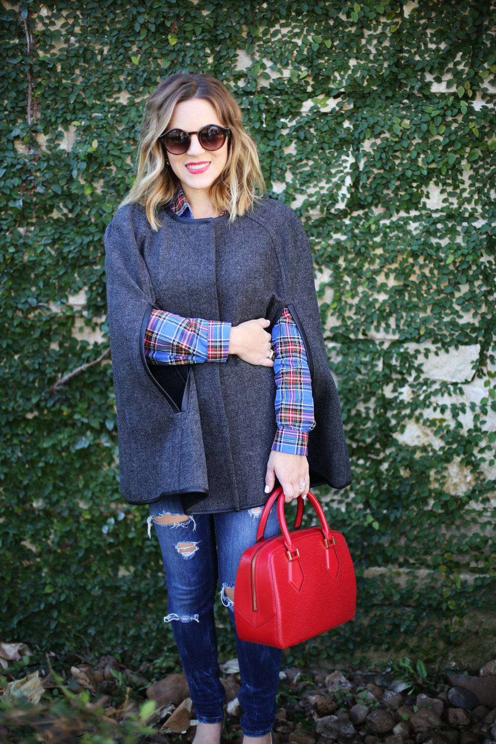 gray j.crew cape and plaid button down with red epi louis vuitton 3.jpg