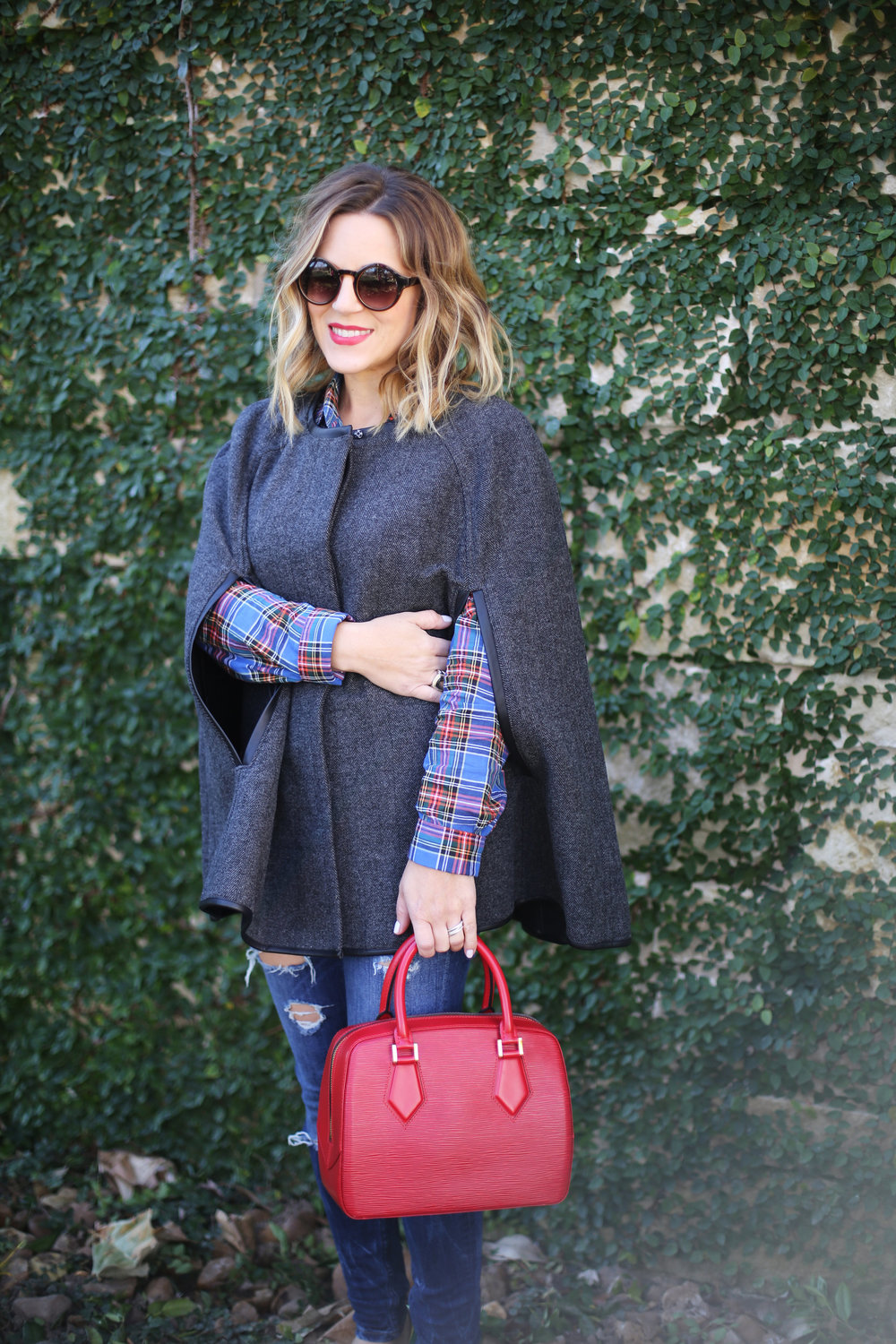 gray j.crew cape and plaid button down with red epi louis vuitton 4.jpg