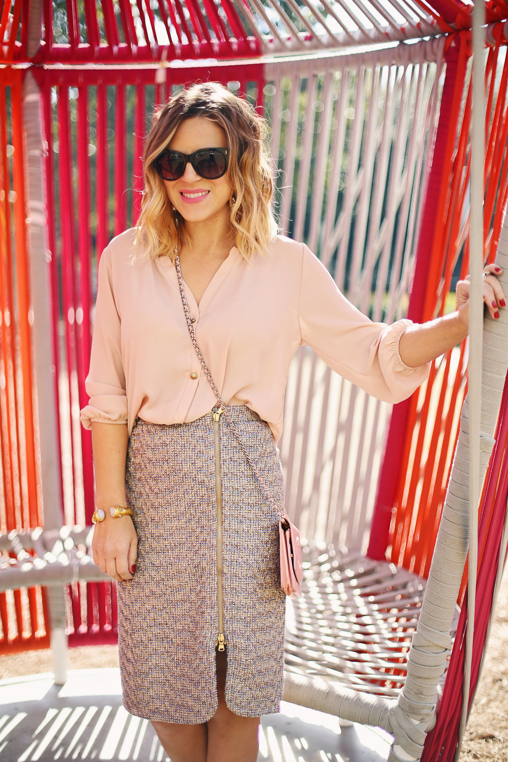 jcrew tweed skirt:julie vos and chanel purse 1.jpg