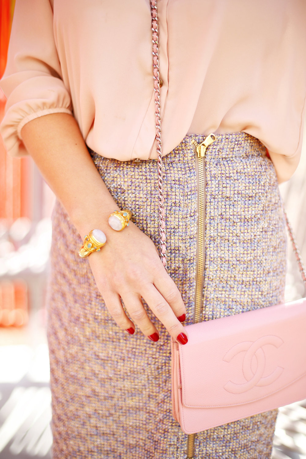 jcrew tweed skirt:julie vos and chanel purse 6.jpg