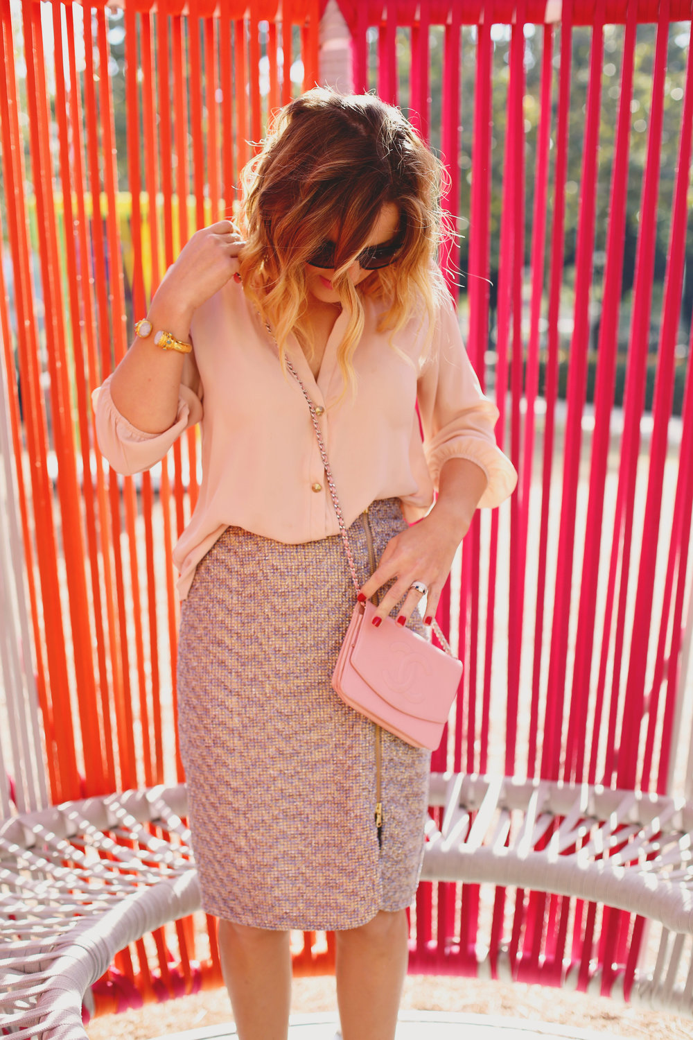 jcrew tweed skirt:julie vos and chanel purse 5.jpg