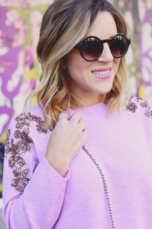 jcrew sweater, white chanel skirt, pink chanel crossbody and jcrew jacket 1.jpg